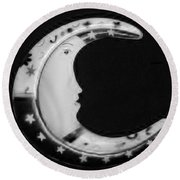 Moon Phase In Black And White Round Beach Towel