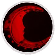 Moon Phase In Blood Red Round Beach Towel