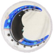 Moon Phase In Inverted Colors Round Beach Towel