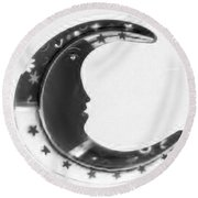 Moon Phase In Negative Round Beach Towel