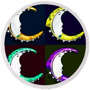 Moon Phase In Pf Quad Colors Round Beach Towel