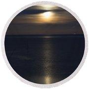 Moon Rise Round Beach Towel by Anne Gilbert