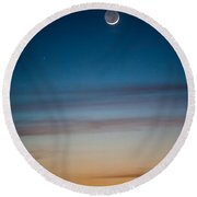 Moon Rise In Texas Round Beach Towel