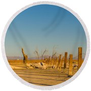 Moon Rise Over Waste Land Round Beach Towel