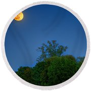 Moon Rising At The Lake House 05/24/13 Oakland County Mi Round Beach Towel