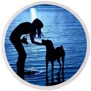Moon Shadow Round Beach Towel by Laura Fasulo