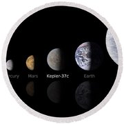 Moon Size Line Up Round Beach Towel