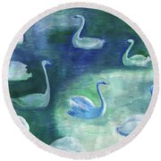 Moon Swans Round Beach Towel