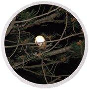Moon Through Pines Round Beach Towel