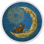 Moon Travel Round Beach Towel