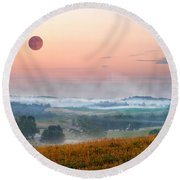 Moon Valley Morning Round Beach Towel