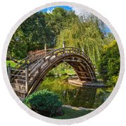 Moonbridge - The Beautifully Renovated Japanese Gardens At The Huntington Library. Round Beach Towel