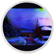 Moonglow On Powder Round Beach Towel
