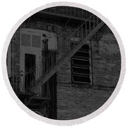 Moonlight Fire Escape Usa Near Infrared Round Beach Towel