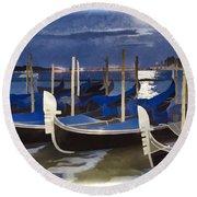 Moonlight Gondolas - Venice Round Beach Towel