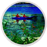 Moonlight Kayak Ride Along The Coastline Of The Lachine Canal Quebec Sea Scenes Carole Spandau Round Beach Towel