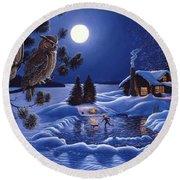 Moonlight Magig-great Horned Owls Round Beach Towel