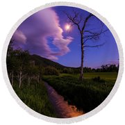 Moonlight Meadow Round Beach Towel by Chad Dutson