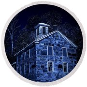 Moonlight On The Old Stone Building  Round Beach Towel