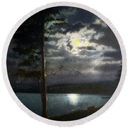 Moonlight On Yellowstone Lake Round Beach Towel