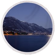 Moonlight Over A Lake Round Beach Towel