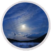 Moonlight Over Tahoe Meadows Round Beach Towel