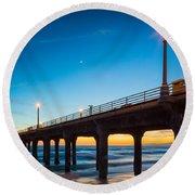 Moonlight Pier Round Beach Towel