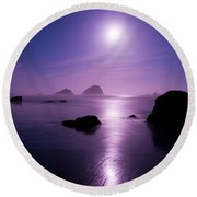 Moonlight Reflection Round Beach Towel