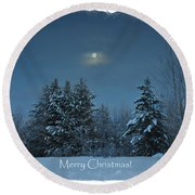 Moonlight Snow Round Beach Towel