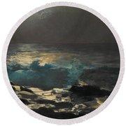 Moonlight. Wood Island Light Round Beach Towel