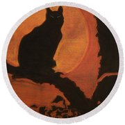 Moonlighting Cat Round Beach Towel