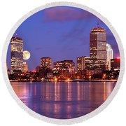 Moonlit Boston On The Charles Round Beach Towel