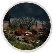 Moonlit Hillside In Africa Round Beach Towel