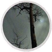 Moonlit Marks On A Ground Glass Canvas  Round Beach Towel