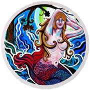 Moonlit Mermaid Round Beach Towel