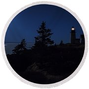 Moonlit Panorama West Quoddy Head Lighthouse Round Beach Towel