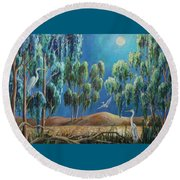 Moonlit Perch Round Beach Towel