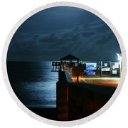 Moonlit Pier Round Beach Towel by Laura Fasulo
