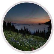 Moonlit Rainier Meadows Sunset Round Beach Towel