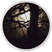 Moonlit Tree In The Forest Round Beach Towel