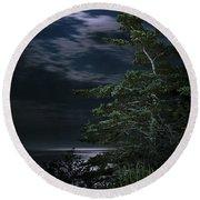 Moonlit Treescape Round Beach Towel
