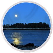 Moonrise Acadia National Park Round Beach Towel