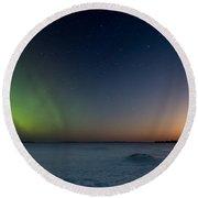 Moonrise And Aurora Round Beach Towel