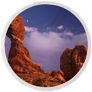 Moonrise At Balanced Rock Arches National Park Utah Round Beach Towel