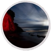 Moonrise At Clearville Beach Round Beach Towel