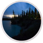 Moonrise At Wabasso Campground Round Beach Towel