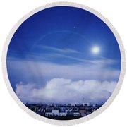 Moonrise Over Nova Harfa Round Beach Towel