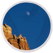 Moonrise Over Sandstone Round Beach Towel