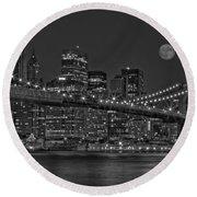 Moonrise Over The Brooklyn Bridge Bw Round Beach Towel by Susan Candelario
