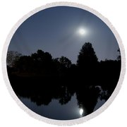 Moonrise Over The Lake Round Beach Towel